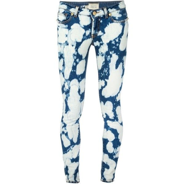 Fausto Puglisi Tie-Dye Skinny Jeans ($268) ❤ liked on Polyvore featuring jeans, pants, blue, skinny leg jeans, tye dye skinny jeans, tie-dye skinny jeans, blue skinny jeans and blue jeans