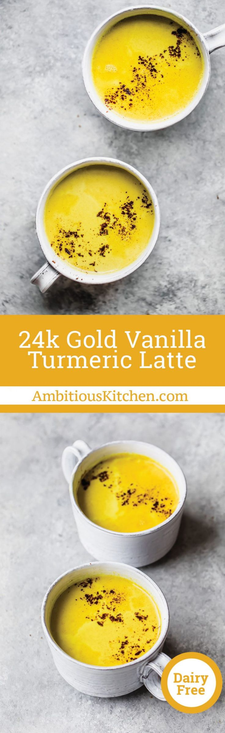 Creamy turmeric latte with hints of vanilla, cinnamon, nutmeg and cardamom. It'll make you feel like pure 24k gold. This recipe is in partnership with the amazing McCormick Spices.
