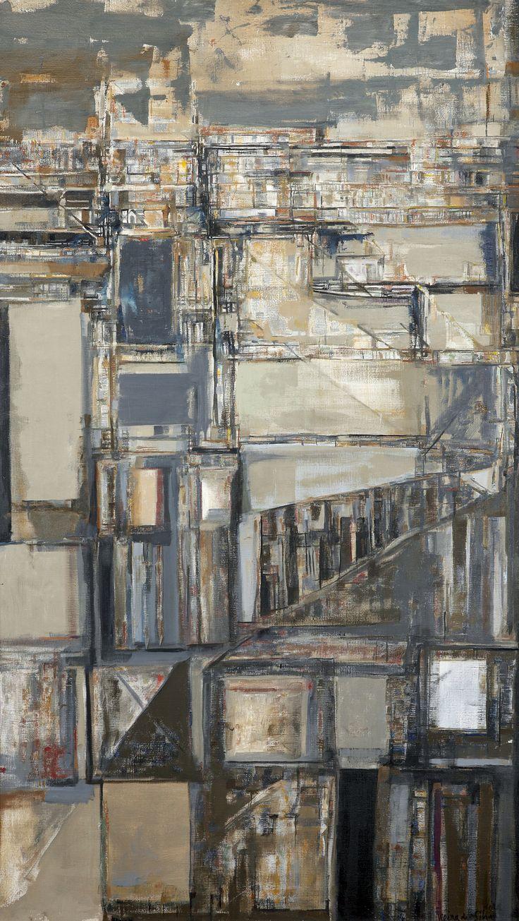 Maria Helena Vieira da Silva, Terre de basse nuit, 1970, huile sur toile, 160x89,5 cm, Lisbonne, collection privée