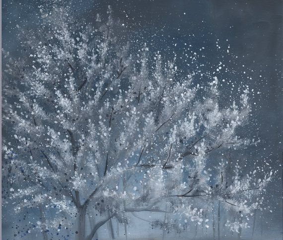 Fleurs blanc arbre peinture peinture acrylique par SnowtreeGallery