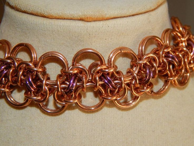 Hand-made Chain Maille Solid Bronze Anodised Niobium Bracelet