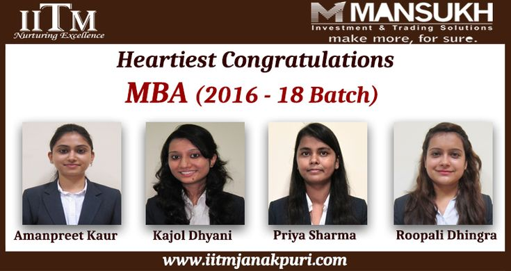 """Congratulations to MBA students (2016-18 Batch) for getting placed in """"Mansukh Securities & Finance Ltd""""."""
