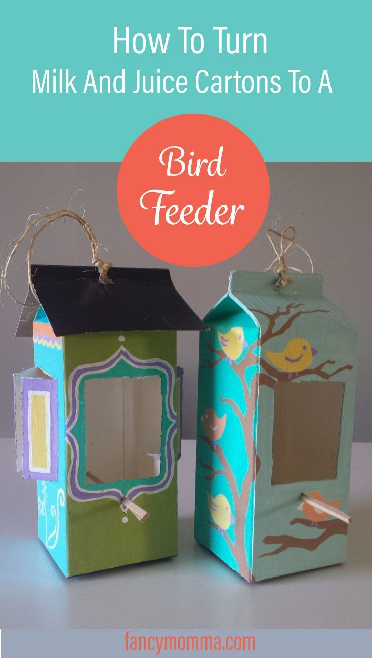 Welcome those birds with these repurposed milk and juice carton turned into bird feeders. You can make these, click to learn how.