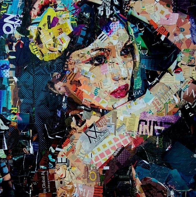 Derek Gores collage, female portrait. Magazine cutouts. Collage art.