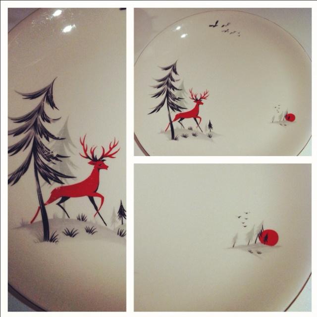 Red Reindeer Alfred Meakin plates