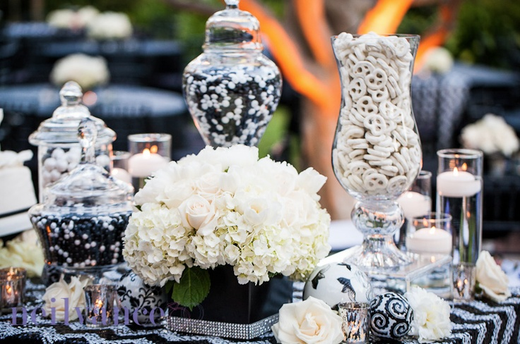 Chevron black and white Candy Station Wedding