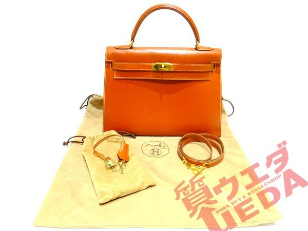 new products 01a91 86b10 エルメス バッグ ケリー32 ブラウン ゴールド金具 茶色 ボックス ...