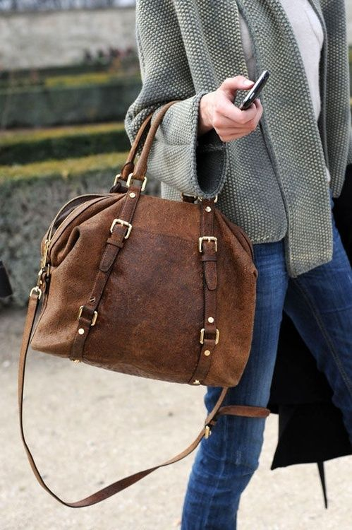 great cognac colored brown hobo bag / satchel with gold tone accents, double top handles and a long strap