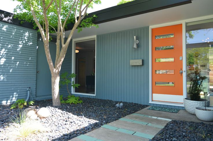 Mid Century Modern Exterior Doors Exterior Midcentury with Blue Tile Pathway Concrete