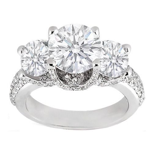 MY FAVORITE! Three Stone Diamond Engagement Ring Vintage Pave Prongs 0.87 tcw. In 14K White Gold