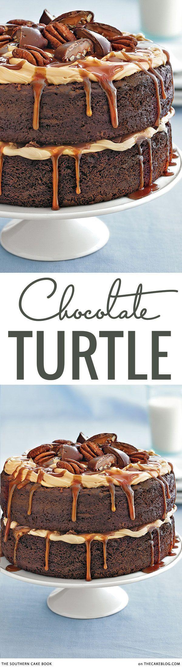 Chocolate, caramel and pecan heaven! Chocolate Turtle Cake Recipe | The Southern Cake Book on TheCakeBlog.com