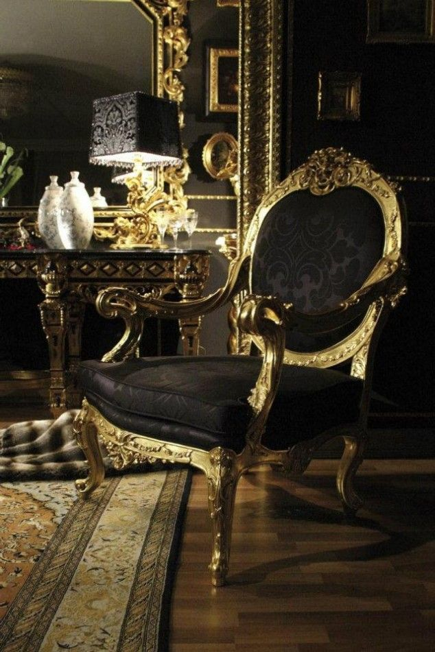 Luxury Italian Furniture—Always been a fan of italian and french furniture as well as black/gold. ♡