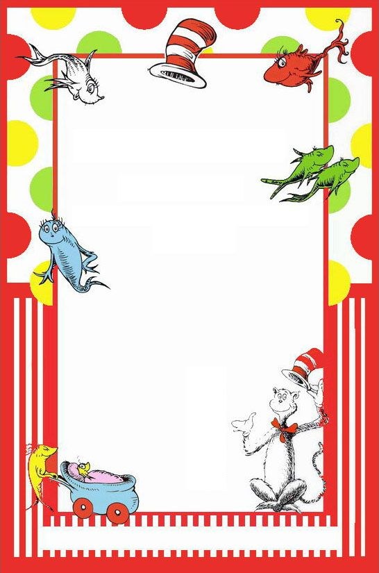 Dr Seuss Printable Invitation template Invitations Online