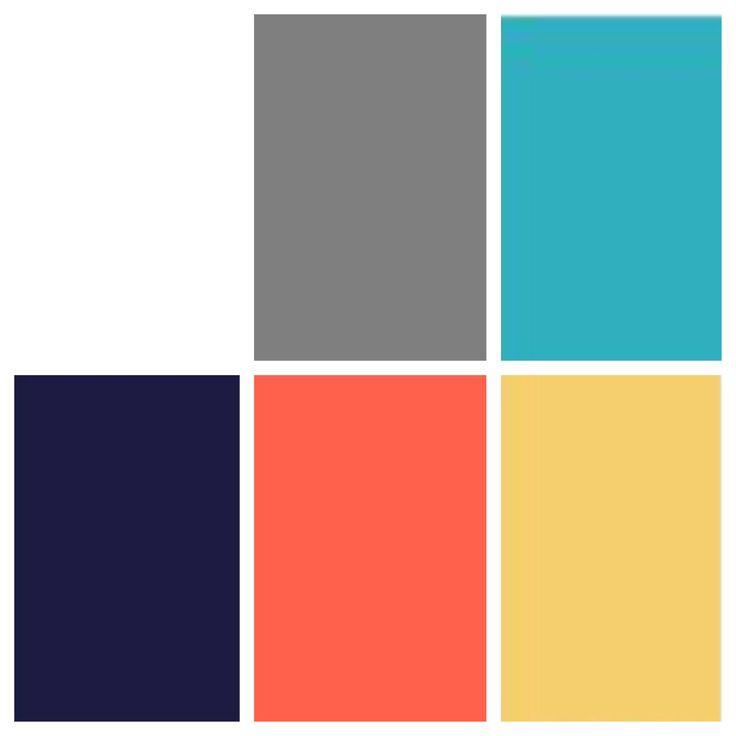 Bedroom: Navy/coral Bathroom: Grey/coral Dining Room: Grey/teal Living: Navy/teal/grey Kitchen: Grey/yellow