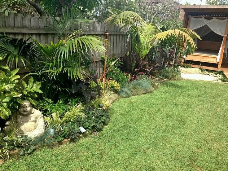Tropical Garden Design, Northern Beaches Sydney. Sandstone Edge, Balinese Hut, Waterfall, Creek, Palms, Tropical Foliage, Cordylines, Blue Fescue Grass, Red Flaxes. Landscape Designers Northern Beaches. Tropical Landscape