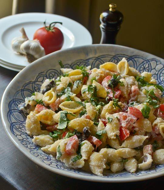 Roasted Garlic, Olive & Tomato Pasta Salad