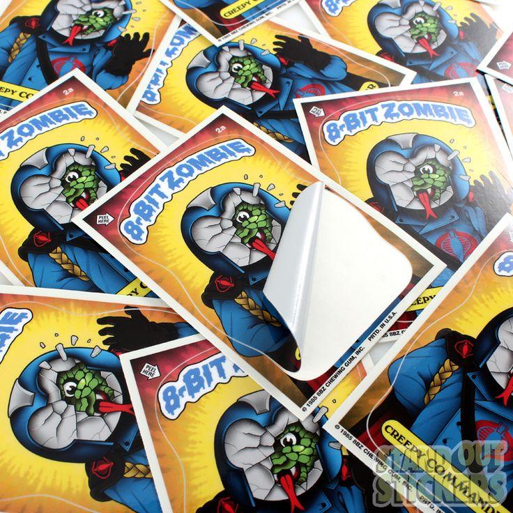 8 bit zombie custom rectangle vinyl stickers kiss cut