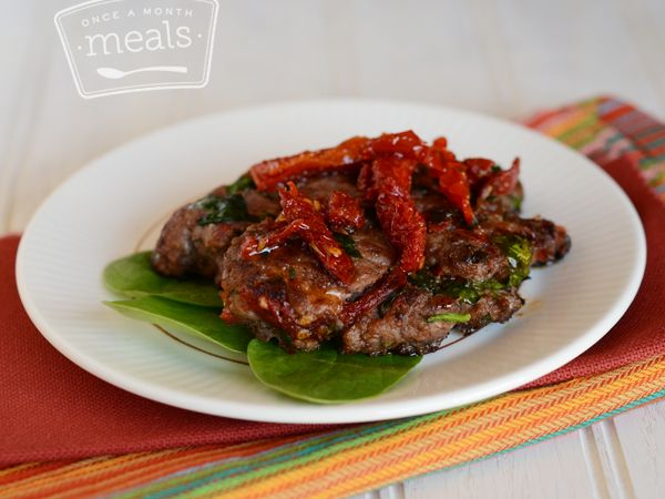 Paleo Sun-dried Tomato and Spinach Burgers - Whole30 Compliant - Once A Month Meals - Freezer Meals - Freezer Recipes - OAMM - OAMC