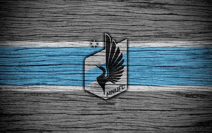 Download wallpapers Minnesota United, 4k, MLS, wooden texture, Western Conference, football club, USA, Minnesota United FC, soccer, logo, FC Minnesota United