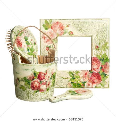 stock photo : handmade objects decorated using different techniques of decoupage