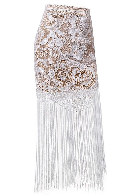 2015 Free shipping Fashion lace fringed skirt famous brand long lace tassel skirts white long women skirts hollow out