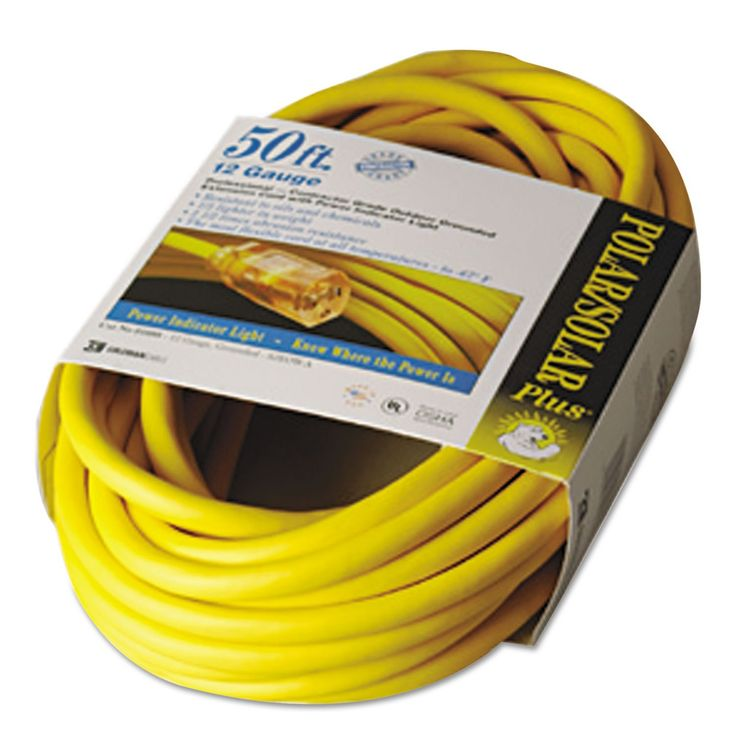 Polar/solar Indoor-Outdoor Extension Cord With Lighted End, 50ft, Yellow