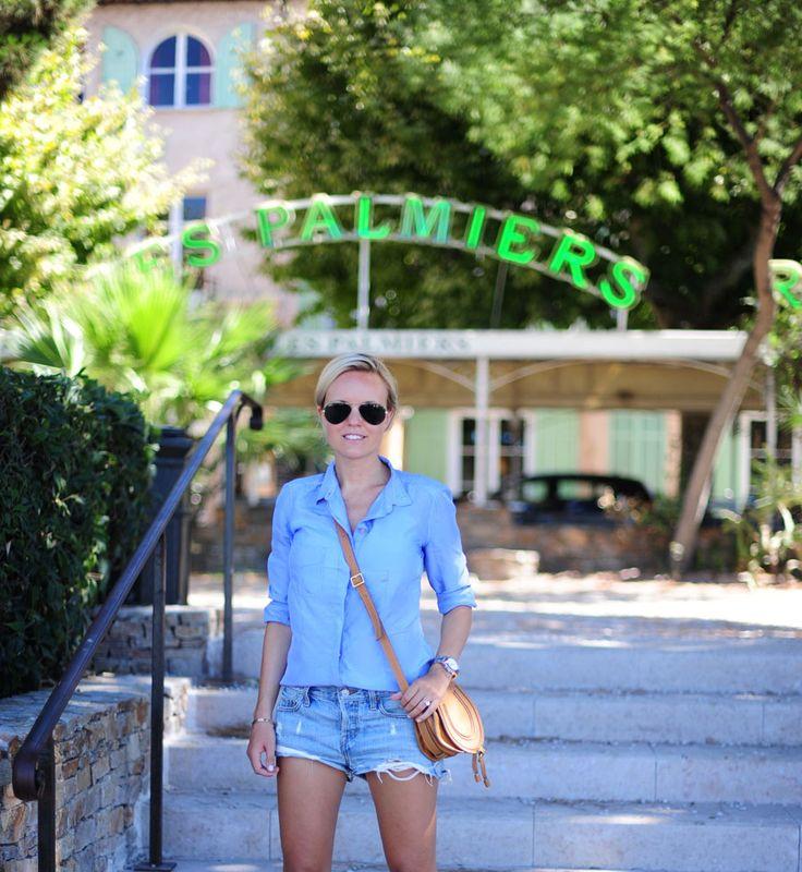 Simple light blue shirt & cutoffs
