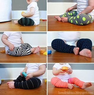 "For Kaylee- my almost crawler! DIY ""baby legs"" from adult knee socks! A super simple sewing project.  (Not to mention super cute.) From Bowdenisms/My Sister's Closet. #DIY #sewing #baby"