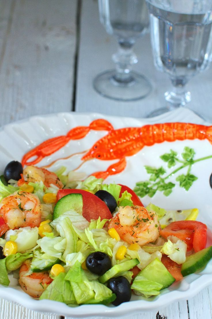 Just My Delicious: Sałatka z Krewetkami, Pomidorami i Oliwkami. Ślinka cieknie.
