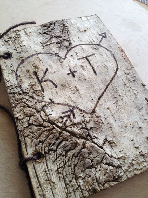 Small 5x7 Birch Bark Wedding Guest Book Birch by SettingUpHouse