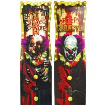Frygtindgydende skilt der kan få selv en tur i cirkus til at virke skræmmende. Klovnene er gode til at sprede uhygge til din næste Halloween fest. Måler 94 x 30 cm