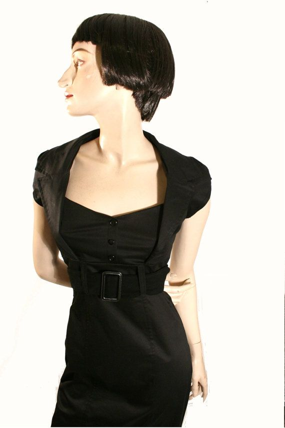 Black dress,pinup dress,fitted dress,retro 50s dress, mad men, in black stretch, S to XL, knee length,sweetheart neckline via Etsy