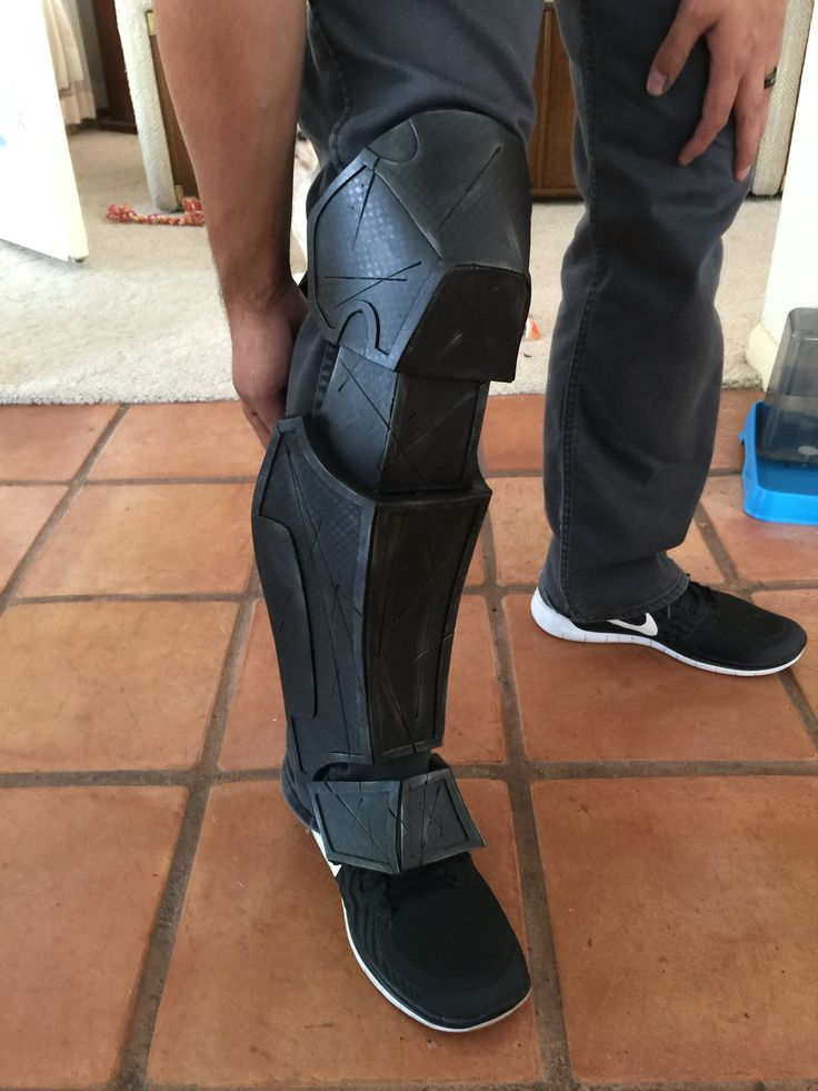 Batman Arkham origins foam boot cover. Airbrushes to give a carbon fiber like look.