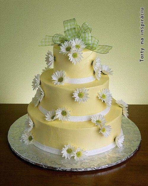 Svadobné torty, poschodové svadobne torty » Poschodova svadobna torta, žlta, biele margaretky
