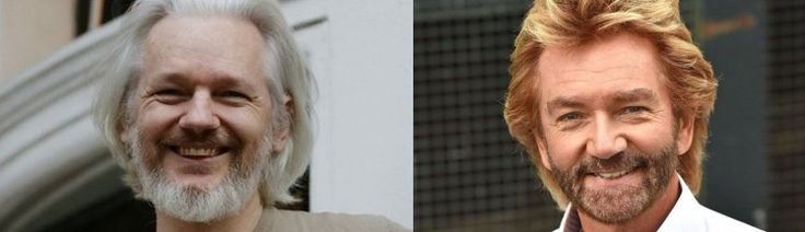 Noel Edmonds and Julian Assange look very similar in these photos