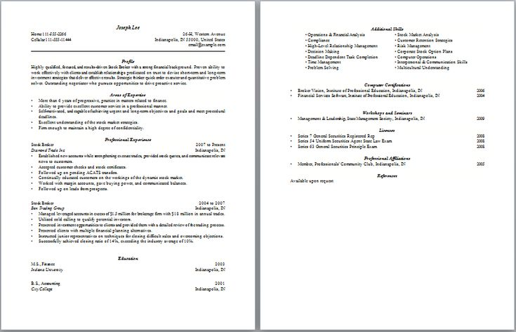 Stock Brocker Resume