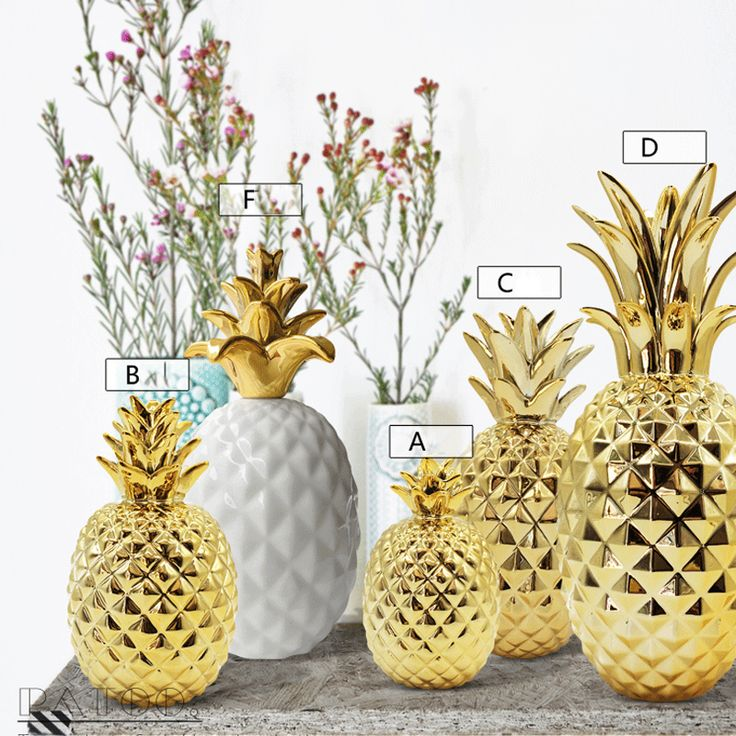 Golden Ceramic Pineapple Modern Feng Shui Home Decoration Accessories Plant Fruit Bromel Figurines Living Room Furnishings Feng Shui Home Decoration Decor