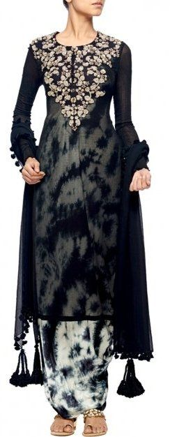 NUPUR KANOI Black embroidered kurta with tie and dye jumpsuit