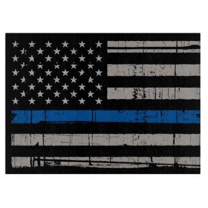 Thin Blue Line - Police Officer - K9 Police Dog Cutting Board - office decor custom cyo diy creative