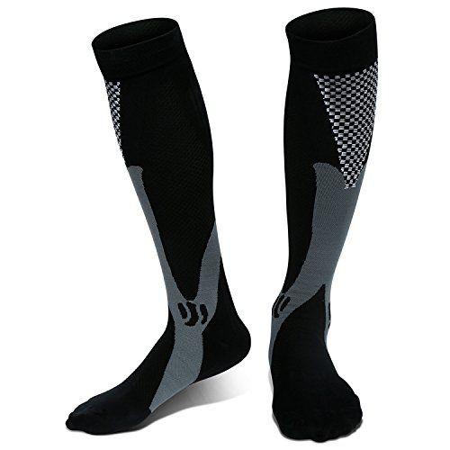 Graduated Compression Socks for Sports Running Circulation Flight Travel Nurses & Recovery - Men(Shoe Size:6.5-11) & Women(Shoe Size:8-12) - Black