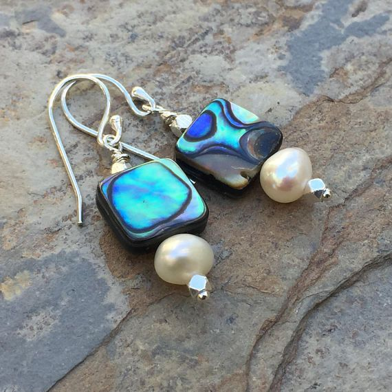 Abalone Earrings Abalone and Pearl Earrings 1.25 inches