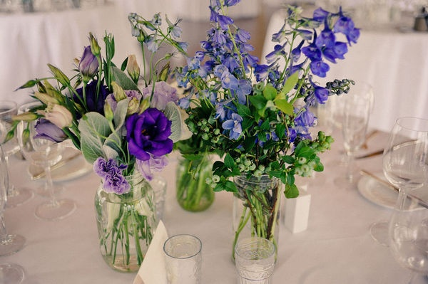 Jars of blue flowersBlue Flower