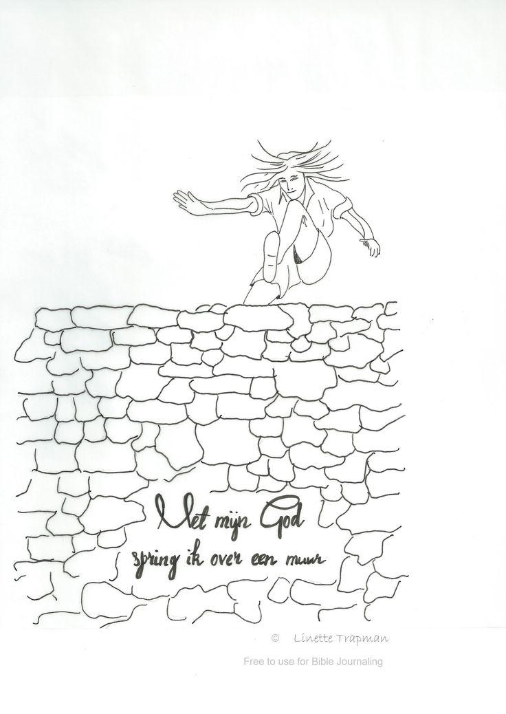 Psalm 18 vers 30b. Ontwerp van Linette Trapman Vrij te gebruiken voor Bible Journaling
