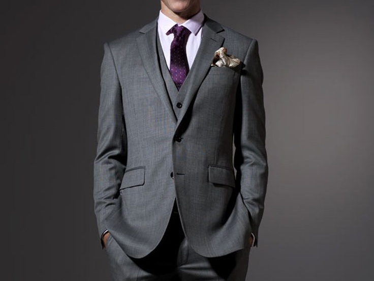 we decided to do dark grey three piece suits tie color