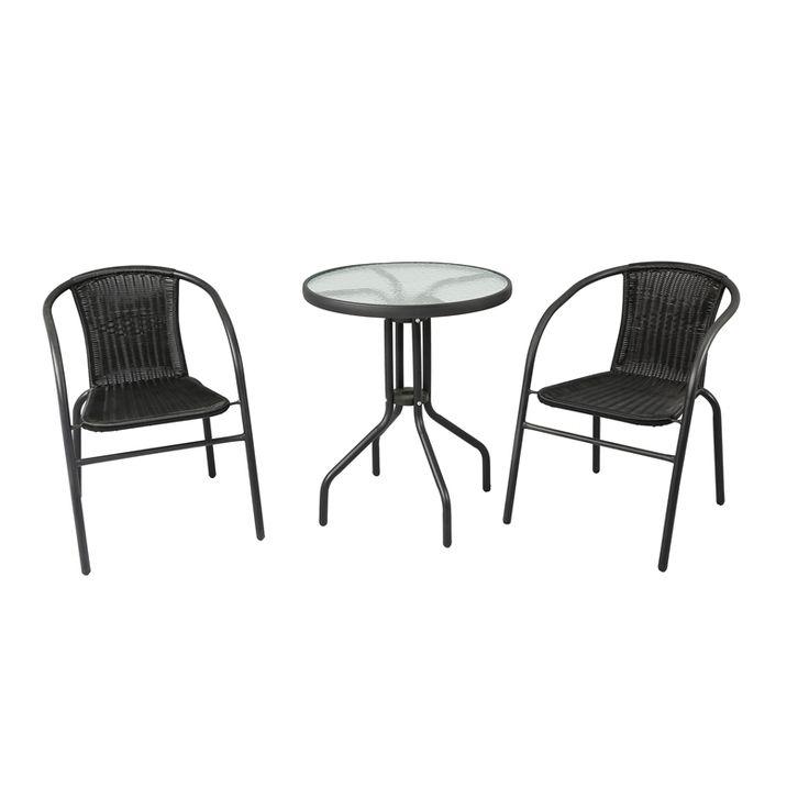Marquee 3 Piece Black Wicker Bistro Set Patio Furniture 400 x 300