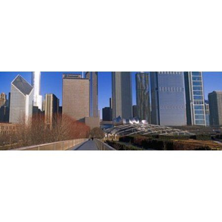 Millennium Park with buildings in the background Chicago Cook County Illinois USA Canvas Art - Panoramic Images (36 x 13)