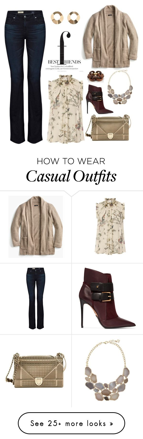 """""""Casual Cardigan"""" by stileclassico on Polyvore featuring AG Adriano Goldschmied, J.Crew, Zimmermann, Christian Dior, Balmain, MANGO and Goossens"""