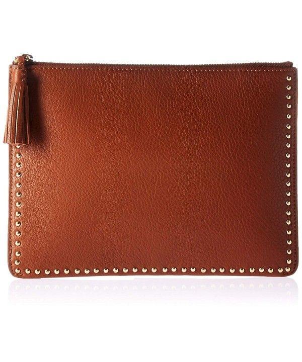 e6b332feea2f Cora Studded Leather Flat Clutch with Tasseled Zipper - Cigar ...