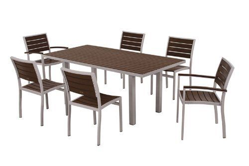 POLYWOOD® Euro 7-Piece Dining Set by POLYWOOD®. $2089.93. Made in the USA. Eco-friendly production with over 90% recycled materials. Available in 7 aluminum frame and slat color combinations. Solid- heavy-duty construction withstands nature's elements. Set includes four A100 Euro Dining Side Chairs- two A200 Euro Dining Arm Chairs- and one AT3672 Euro 36in x 72in Dining Table. Euro 7-Piece Dining Set in Textured Silver Aluminum Frame / Mahogany