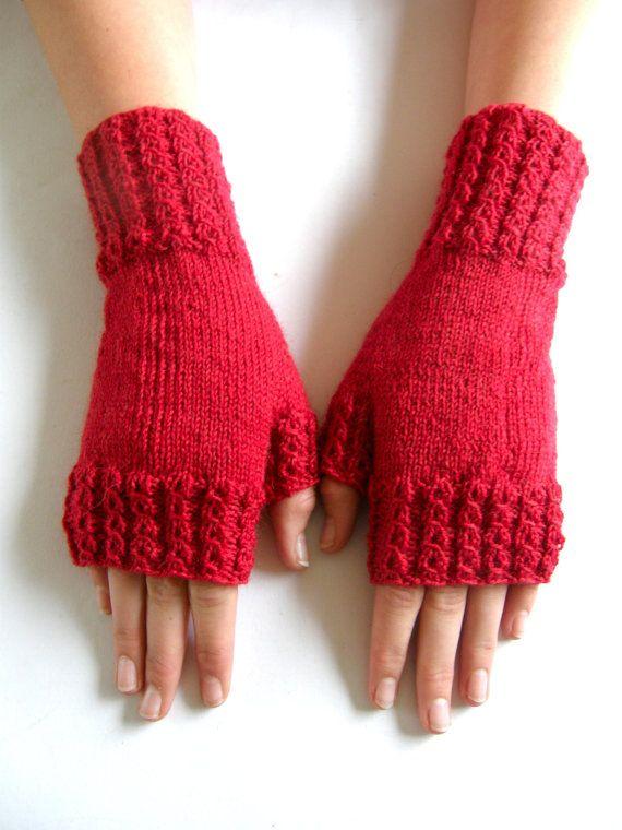 Vingerloze wanten  handschoenen Rood maat M/L door Carolinevantveer